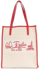 Emilio Pucci - Italy shopper tote - women - Cotone/Leather - One Size - Color carne & neutri