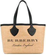 Burberry - carry-all logo tote - women - Raffia/Leather - One Size - Color carne & neutri