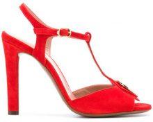 L'Autre Chose - Sandali con placca con logo - women - Calf Suede/Leather - 36, 37, 38, 39, 40 - RED