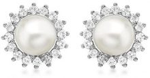 Carissima Gold - Orecchini a Lobo da Donna in Oro Bianco 9K (375) con Diamante e Perle