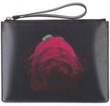 Christopher Kane - clutch con zip e stampa digitale - women - Calf Leather/Polypropylene - OS - Nero