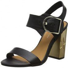 Tommy Hilfiger Feminine Heel Oversized Buckle, Sandali con Cinturino Alla Caviglia Donna, Nero (Black 990), 38 EU