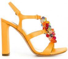 Casadei - Sandali decorati - women - Leather/Satin/Polyester - 35, 36.5, 37, 37.5, 38, 38.5, 39, 40, 41 - Giallo & arancio