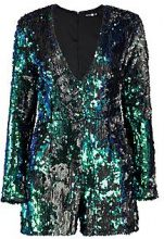 Alison Plunge Front All Over Sequin Long Sleeve Playsuit