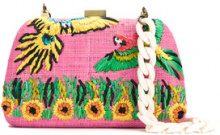 Serpui - embroidered raffia clutch - women - Raffia - OS - PINK & PURPLE