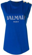 Balmain - Top con logo - women - Cotton - 38 - BLUE