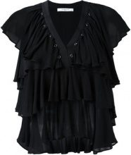 Givenchy - ruffled sleeveless top - women - Viscose - 40 - BLACK