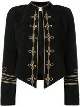 Saint Laurent - military style blazer - women - Goat Skin/Silk - 38 - Nero