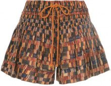 Isabel Marant Étoile - Shorts con cordoncino e stampa all-over - women - Cotton - 40 - BROWN