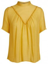 PIECES Short Sleeved Frill Blouse Women Yellow