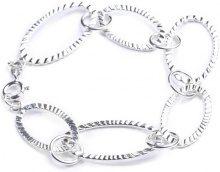 Adara-Bracciale in argento, maglie ovali zigrinate, lunghezza 19,5 cm
