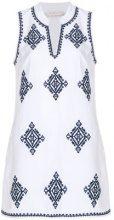 Tory Burch - Vestito con ricamo azteco - women - Cotton/Linen/Flax/Viscose/Polyester - S, XS, M - WHITE