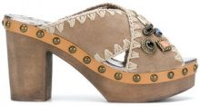 Mou - Mules con fascie incrociate - women - Wood/Leather/Suede/rubber - 36, 37, 39, 40 - NUDE & NEUTRALS