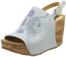Desigual Shoes_Swan Tigers, Sandali con Zeppa Donna, Blu (5098 Starlight Blue), 39 EU