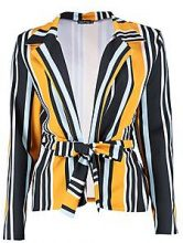 Megan Mixed Stripe Belted Blazer