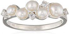 Elements Silver Donna  925  argento Rotonda  perla cinesa da coltivazione bianco Perla Zirconia cubica