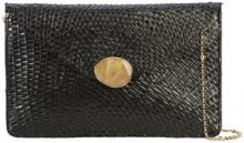 Kayu - chain strap envelope clutch bag - women - Straw - OS - BLACK