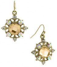 1928 Jewelry-Orecchini color oro, con topazio sfaccettato, cristallo AB-Orecchini pendenti