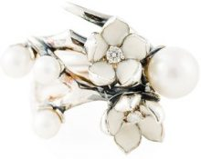 Shaun Leane - Anello 'Cherry Blossom' - women - Pearls/Sterling Silver/Diamond - 49, 53, 57 - METALLIC