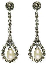 Esse Marcasite-Anello in argento Sterling, con perle d'acqua dolce e Marcasite-Orecchini pendenti