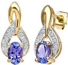 Naava Orecchini a Perno da Donna, Oro Giallo, 9 Carati 375, Diamante