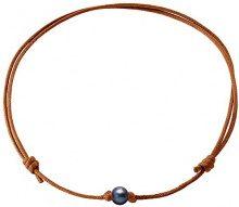 Pearls & Colors PC-CMC2 - Collana girocollo, in metallo con perle d'acqua dolce, 35 cm, Metallo, colore: marrone, cod. PC-CMC28