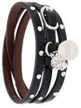 Alexander McQueen - triple wrap studded skull bracelet - women - Brass/Leather - One Size - Nero