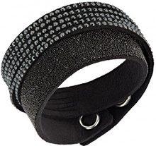 Swarovski 5158292 - Braccialetto da donna in tessuto e cristalli 36 cm, base metal, colore: black, cod. 5158292
