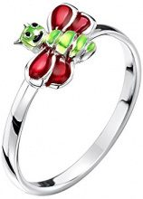 Jo for Girls-Ciondolo in argento Sterling a forma di insetto con anello, misura F