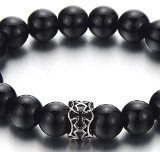 10MM Perle Onice Nero Uomo Donna Braccialetto di Perline, Bracciale del Croce Charm Acciaio Inossidabile
