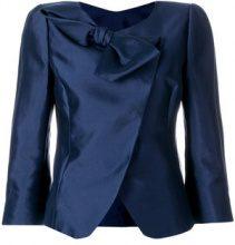 Emporio Armani - Giacca aderente con fiocco - women - Cotton/Silk/Polyester/Spandex/Elastane - 42 - BLUE