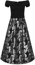 APART Fashion 60489, Vestito Donna, Mehrfarbig (Schwarz-Silber), 50