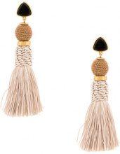 Lizzie Fortunato Jewels - tassel drop earrings - women - Gold Plated Brass - OS - BLACK