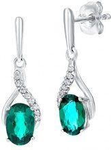 Naava Donna 9 carati oro bianco Rotonda verde Smeraldo artificiale Diamante