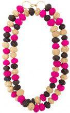 Carolina Herrera - raffia beads long necklace - women - Bronzo/Raffia - OS - Rosa & viola