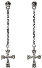 Esse Marcasite-Anello in argento Sterling, con Marcasite e Zirconia cubica, con orecchini pendenti a croce gotica