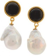 Lizzie Fortunato Jewels - Orecchini 'Tuxedo' - women - 18kt Gold Plated Brass/Onyx/Madre di Pearl - OS - Nero