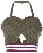 Maison Margiela - Crop top con scollo a cuore - women - Cotone/Wool - 38 - GREEN