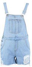 Tina Fray Hem Denim Dungaree Shorts