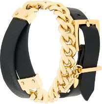 Coup De Coeur - chain wrap bracelet - women - Gold Plated Brass/Leather - OS - BLACK