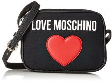 Love Moschino Borsa Canvas Nero+pebble Pu Nero - Borse Baguette Donna, (Black Canvas-black), 7x15x19 cm (B x H T)