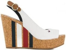 Tommy Hilfiger - Sandali con zeppa alta a righe - women - Cotone/Leather/Polyurethane/rubber - 38, 39, 40, 41 - Bianco