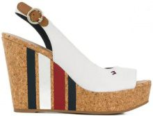 Tommy Hilfiger - Sandali con zeppa alta a righe - women - Leather/Polyurethane/Cotton/rubber - 36, 37, 38, 39, 40, 41 - WHITE