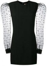 Saint Laurent - vestito mini con manica a rete a cuori - women - Viscose/Acetate/Polyamide/Silk - 36, 38, 40, 42, 34 - BLACK