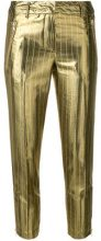 Twin-Set - Pantaloni crop a righe - women - metal/Polyester/Acetate - 42, 44 - METALLIC