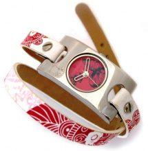 Teddy Smith 3070132-Orologio da donna con cinturino in cuoio, colore: bianco, motivo: fiori-doppio giro