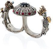 - Alexander McQueen - Anello doppio 'Queen and King' - women - ottone/glass - M, L - effetto metallizzato