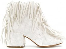 Mm6 Maison Margiela - Stivali con frange - women - Calf Leather/Leather/rubber - 37, 38, 39 - WHITE