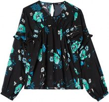 FIND Blusa a Manica Lunga con Rouche Donna, Multicolore (Multicoloured Mpr 302), Small