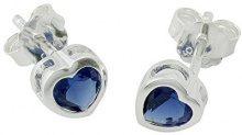 Bijoux pour tous Donna 925 Argento Cuore blu Ossido di zirconio FASHIONEARRING